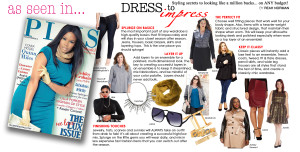 """PLUS Model Magazine Executive Fashion Director and plus size fashion expert Reah Norman shares plus size fashion styling secrets to looking like a million bucks on any budget. in the feature """"Dress to Impress""""."""