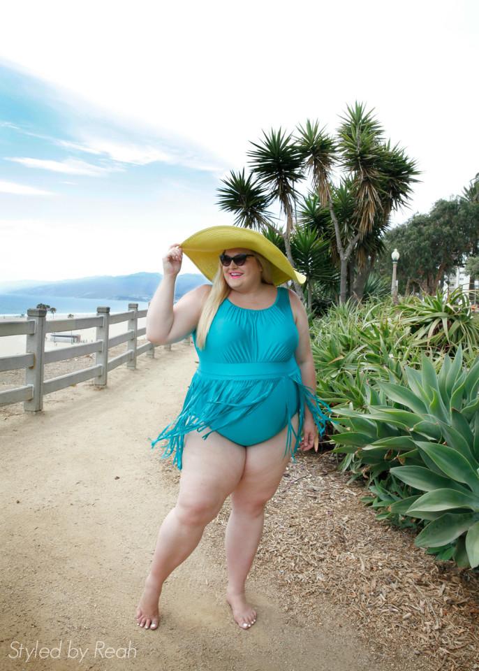 plus fashion expert Reah Norman wearing Monif C. plus size swim collection