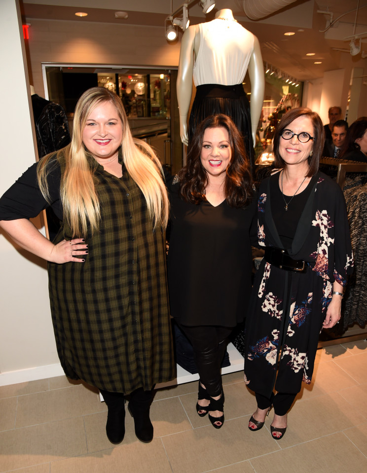 CULVER CITY, CA - NOVEMBER 12: Blogger Reah Norman, Melissa McCarthy and Lane Bryant CEO Linda Heasley attend the debut of Melissa McCarthy's Seven7 holiday collection at Lane Bryant on November 12, 2015 in Culver City, California (Photo by Jason Merritt/Getty Images for Lane Bryant)