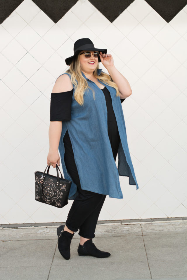 Plus Size Cold-Shoulder Jumpsuit Trend | Styled by Reah | www.styledbyreah.com
