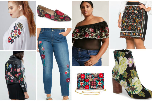 Plus fashion expert, Reah Norman highlights the prominent embroidery trend of fall 2017 with her top picks in plus size fashion and chic accessories.